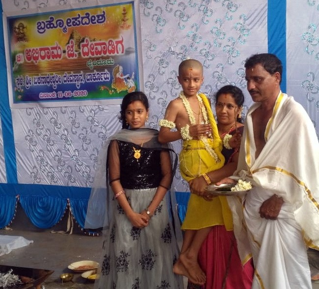A rare Brahmoopam of our community! : Upanayana for the boy Abhiram J Devadiga.